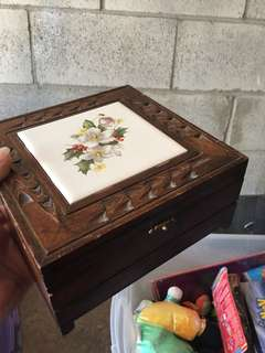 Antique Christmas Theme Wooden Jewelry Box