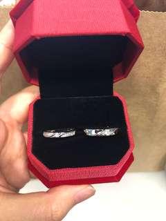 R05 情侶銀戒指 紀念日 介子 閃 鑽石 禮物