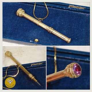 維多利亞時代雕刻古董鉛筆頸鍊