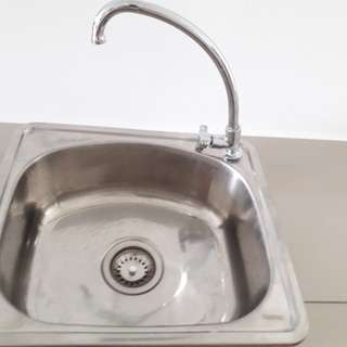 Sink and tap 45cm(w)x 40cm(L) x 17cm(H)
