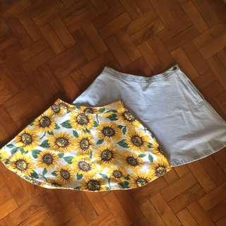 American Apparel inspired floral skirt, denim skirt