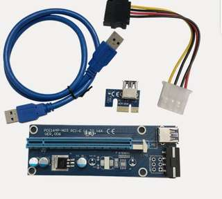 PCI-E 1X to 16X Riser USB 3.0 Extender Cable(Pre-Order)
