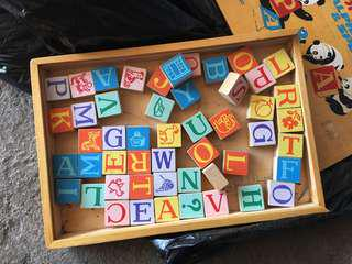 Vintage Panda Chinese Alphabet Blocks Toy