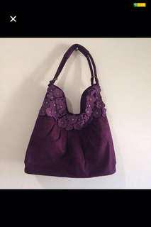 Tas velvet/beludru warna ungu (shoulder bag)