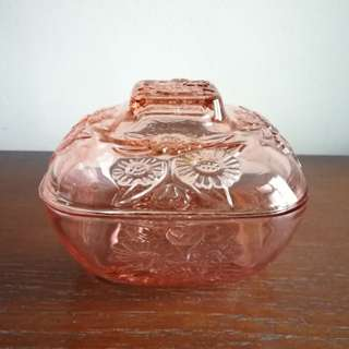 Vintage Pink Glass Candy Dish Container