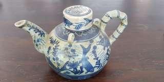 Blue vintage tea pot