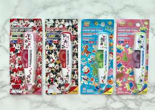 Rare! Full set of Disney Mickey & Minnie Mouse & Pixar Toy Story Alien PLUS Whiper MR Mini Roller Correction Tapes