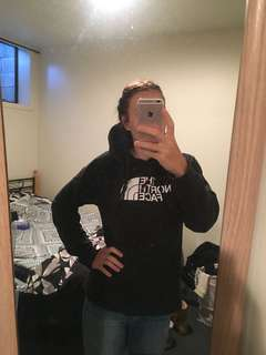 Womens Black North Face Hoodie - Large