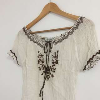 Tree Of Life Brown Embroidered Top