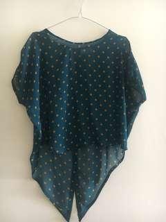 See through polkadot blouse