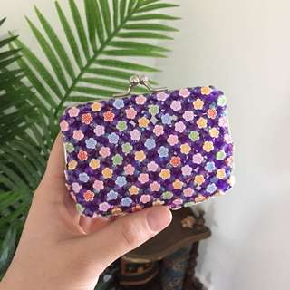 Small Floral Beaded Coin Purse
