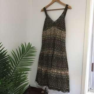Green Boho Gypsy Style Mid Length Dress
