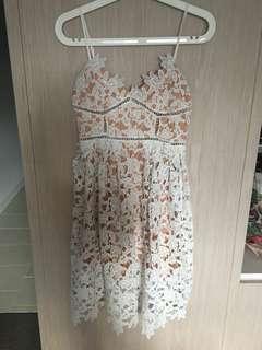 White lace designed dress