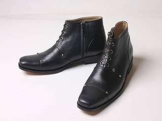 Sepatu Boots Pria Formal Kulit Asli Flavio Dante Hitam