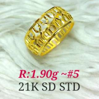 ( size: 5 ) 21K SAUDI GOLD RING ''....