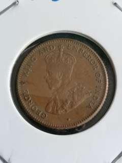 C7  1916海峽殖民地乔治五世1/4美分2.33g  18mm