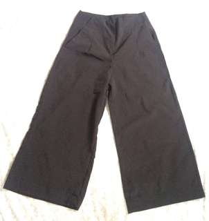 BLACK SILK WIDEPANTS