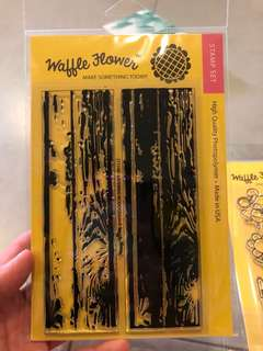 Waffle flower clear photopolymer stamp layering woodgrain