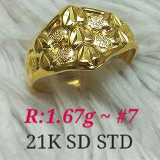 ( size: 7 ) 21K SAUDI GOLD RING '''.