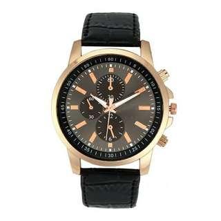 Jam Tangan Quartz Korea Men Leather Watch