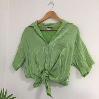 Funky Lime Green Shiny Button Up Top