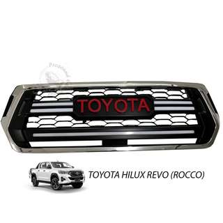 TOYOTA HILUX REVO ROCCO 2018 (TOT-003) FRONT GRILLE V2 RED WORDING WITH LED
