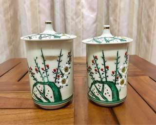 Japanese kutani hand painted porcelain couple cups
