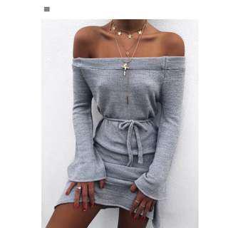 Outcast clothing grey off shoulder dress