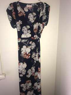 Navy floral wrap dress