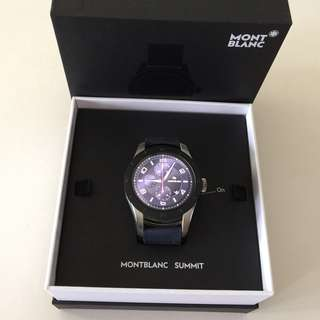 ✨Montblanc Mont blanc Summit Smartwatch – Bi color steel case with navy blue rubber strap✨