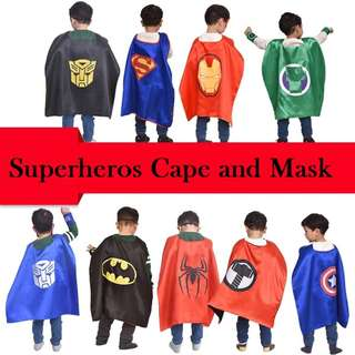 Superheros Cape and Mask Matching Slap Bracelet for Kids Costume and Dress up /party/Halloween