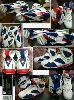 Air Jordan 7 Retro, White/Mtlc CN-DP RYL BL-FR, Size 8.5