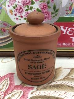 Henry Watson Herbs Spice Jar Terracotta Made In England
