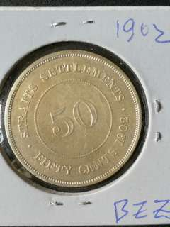Straits settlement 50 cents silver coin 1902 nice EF selling cheap