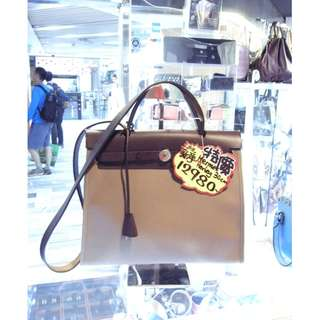 Hermes Etoupe Canvas / Brown Leather Classic Herbag 30cm Shoulder Handbag Hand Bag 愛馬仕 大象灰色 帆布 / 啡色 牛皮 皮革 經典款 30公分 手挽袋 手袋 肩袋 袋