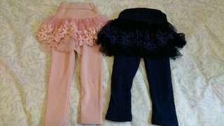 abma♡細緻蕾絲內絨毛裙褲布標100(粉/藍)單件價