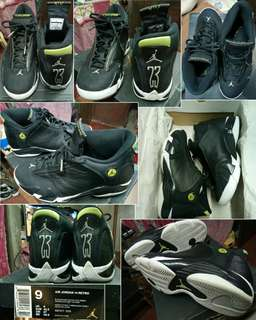 Air Jordan 14 Retro, Black/Black-White Vivid Green, Size 9