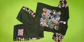 set kaos celana pendek size 14