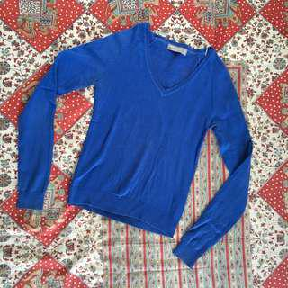 Zara Blue Long Sleeved V Neck Top