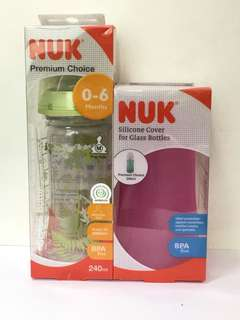 Nuk milk bottle with silicone cover