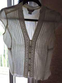 GUESS White Beautiful Button Blouse Top S