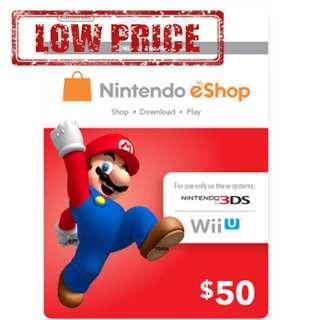 ●LOW PRICE● $50USD Nintendo eShop Switch 3DS Wii U Code