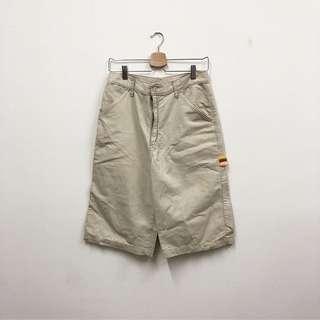 (微瑕疵)及膝長褲 不長不短 七分褲 卡其色 經典復古 古著 二手