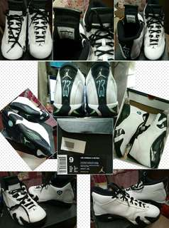 Air Jordan 14 Retro, White/Black Oxidised Green, Size 9