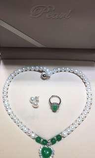 天然珍珠頸鏈配綠玉髓吊墜 + 天然珍珠耳釘+馬來玉戒指