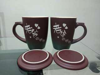 🚚 附杯蓋👍老爸媽雙人陶瓷杯