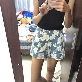 春夏花草圖騰高腰短褲