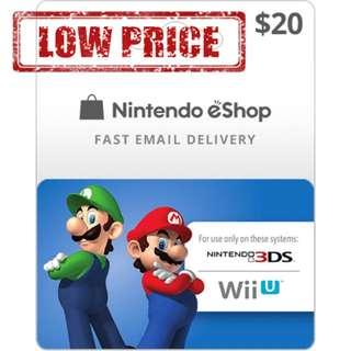 ●LOW PRICE● $20USD Nintendo eShop Switch 3DS Wii U Code