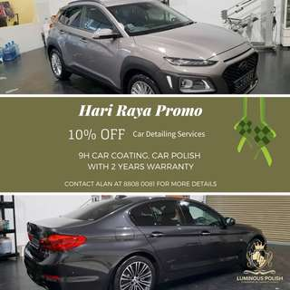 HARI RAYA PROMO: 10% OFF 9H CAR COATING FORMULATED FROM GERMANY !!