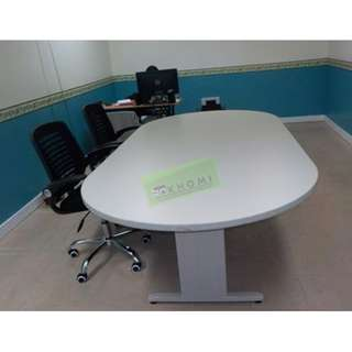 OVAL CONFERENCE TABLE & MESH CHAIRS--KHOMI